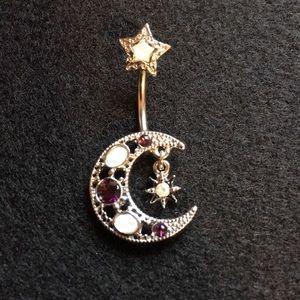 Beautiful Moon, Sun, & Stars Belly Button Ring